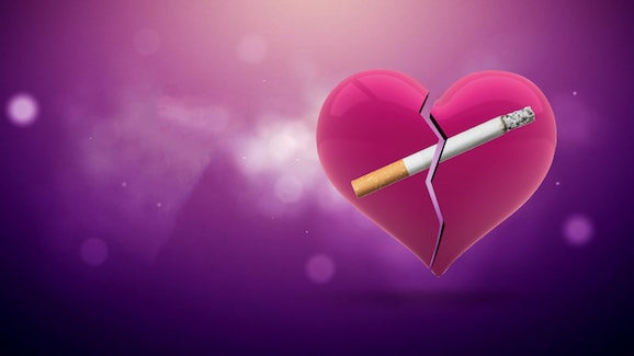 Image of a cigarette inside a broken pink heart